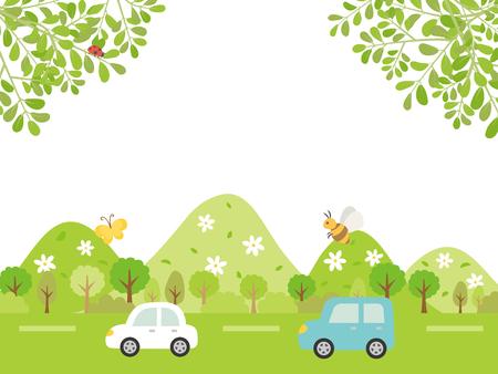 Landscape driving the fresh season suburbs vector background. Illustration