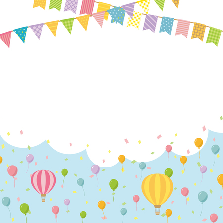 Banner frame with colorful balloon and garland designs.