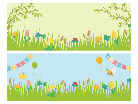 Landscape with the flower of the fresh green season vector banner set.