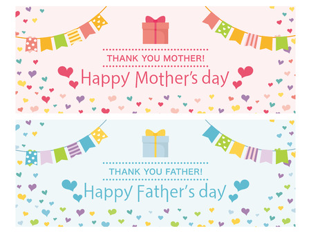 Mothers day and Fathers day greeting card set.