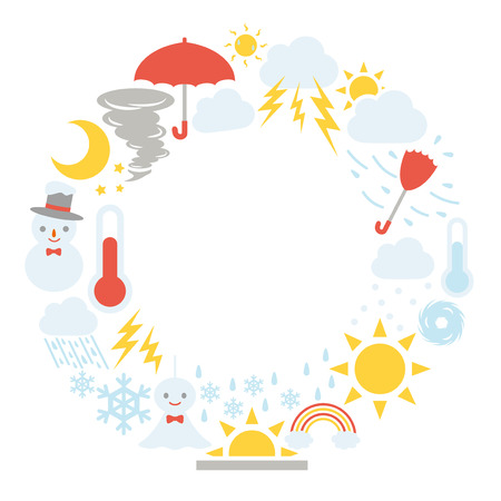 Weather vector icon frame.