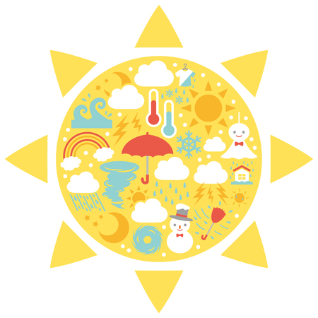 Weather vector icon card.