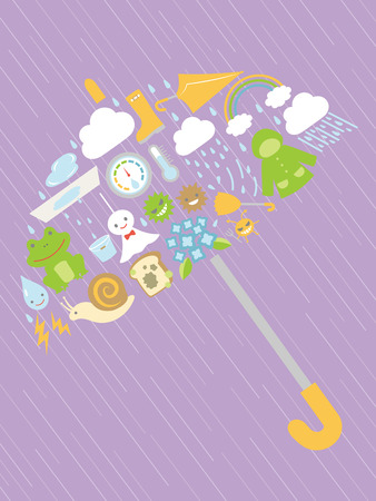 Rainy season in Japan vector card.
