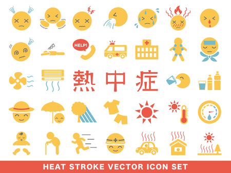 heat stroke symptom and prevention icon set.