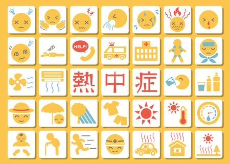 Heat stroke symptom and prevention icon set.