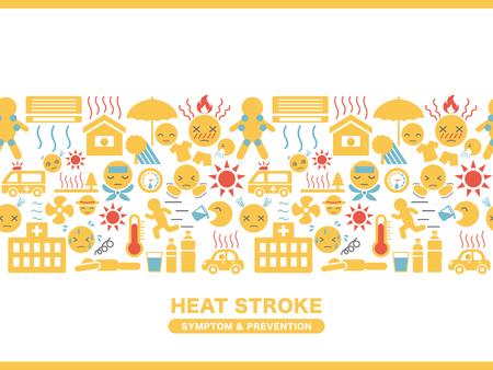 Cadre d'icône de symptômes et de prévention des coups de chaleur. Vecteurs