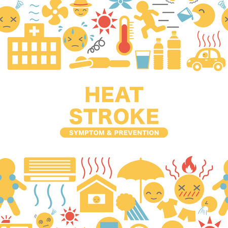 Heat stroke symptom and prevention  icon frame.