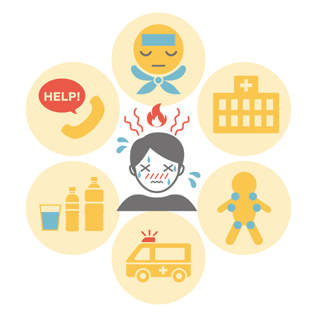 heat stroke first aid vector icon.