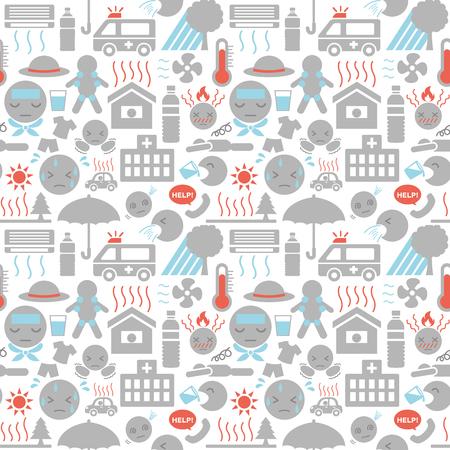 heat stroke symptom and prevention vector seamless pattern background. Illustration