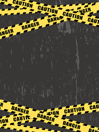 Danger and caution tape on black background.