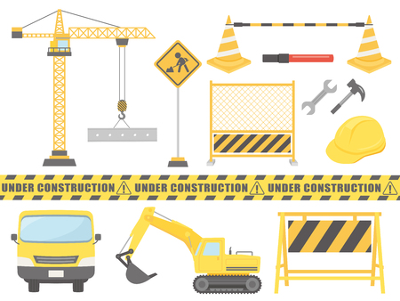 Construction vector illustration set. Stock Illustratie