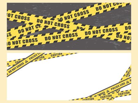 Police line vector banner set.