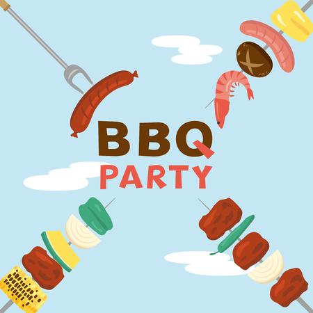 Barbeque party vector poster. Vectores