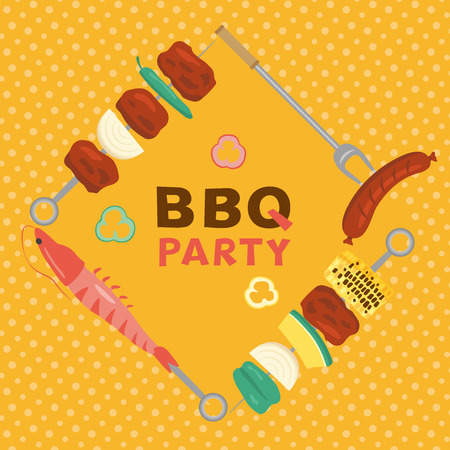 Barbeque party vector poster. Çizim