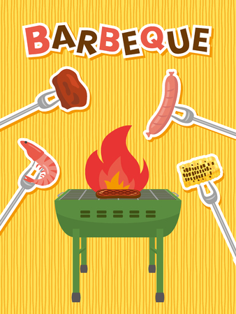 Barbeque party vector poster. Illustration