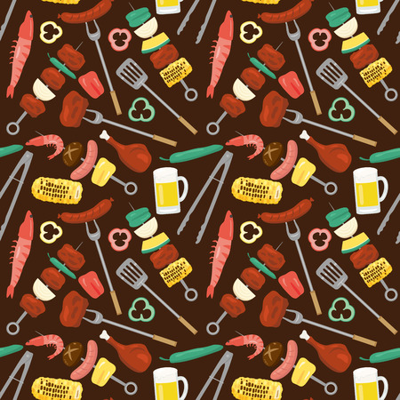 Barbeque vector seamless pattern background.