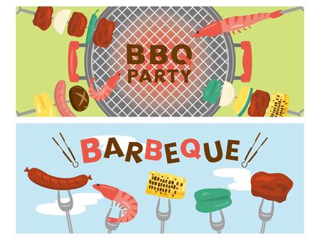 Barbeque vector banner set. Illustration