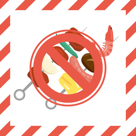 No grill area vector poster. Illustration