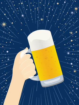 Hand with beer on the background of night sky.