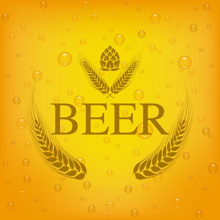 barley and hop vector  design on beer background.