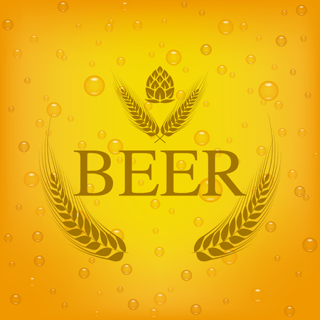 barley and hop vector  design on beer background.
