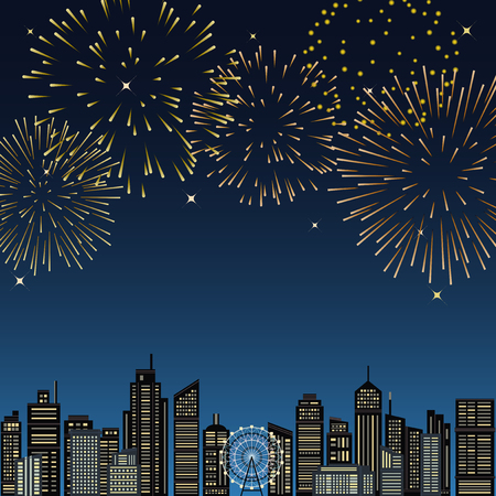 Cityscape buildings with fireworks. vector illustration.