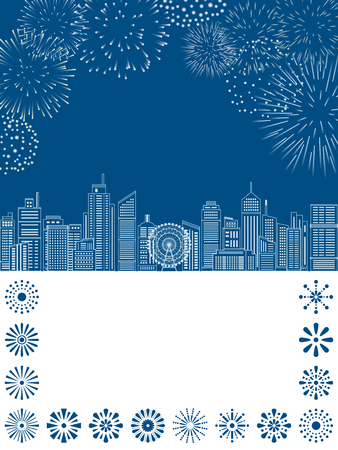 Line cityscape buildings with fireworks. vector illustration.