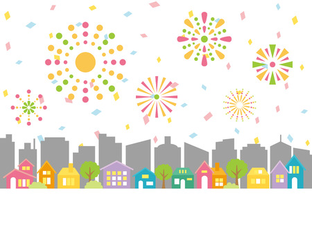 Cityscape with fireworks.vector illustration.