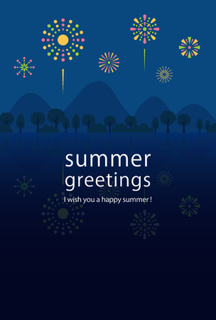 Summer greeting card of fireworks. Иллюстрация