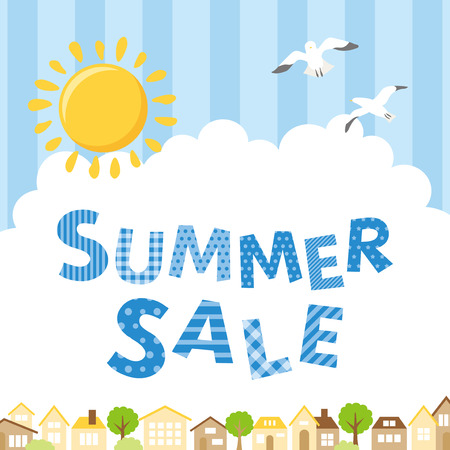 Summer sale poster with cityscape.