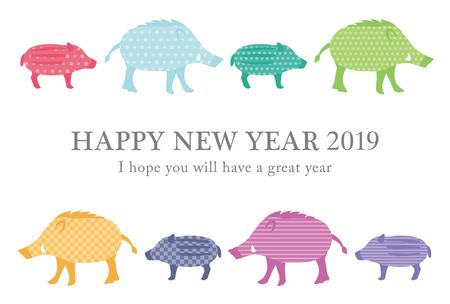 Carta del capodanno giapponese nel 2019. Il segno zodiacale nel 2019 è un cinghiale. Vettoriali