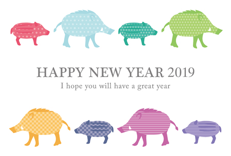 Japanese New Year's card in 2019. The zodiac sign in 2019 is a boar.  イラスト・ベクター素材