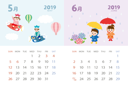 calendar template for 2019 year with Japanese events. May, June...