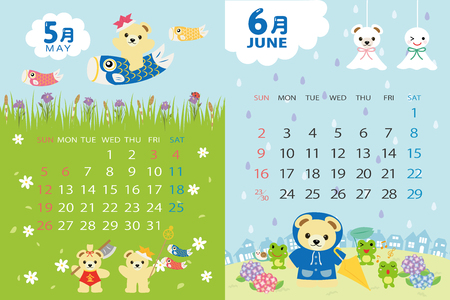 Cute bears calendar template for 2019 year with Japanese events. May, June... Illustration