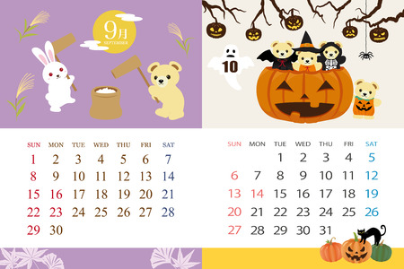 Cute bear's calendar template for 2019 year with Japanese events. September, October.