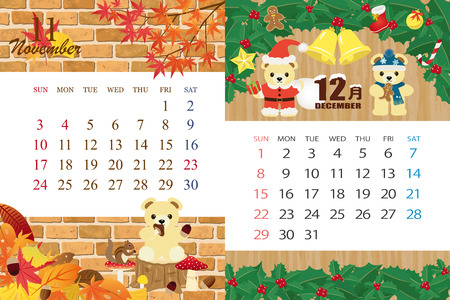 Cute bear's calendar template for 2019 year with Japanese events. November, December...