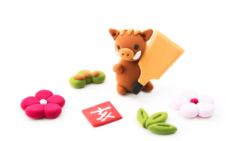 Japanese New Year's card in 2019. The zodiac sign in 2019 is a boar. 版權商用圖片