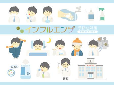 Conjunto de ilustración de vector de prevención de la gripe.
