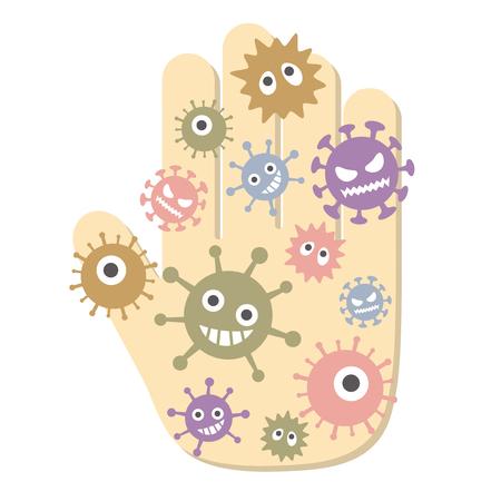 Mano con virus attaccato. illustrazione vettoriale. Vettoriali
