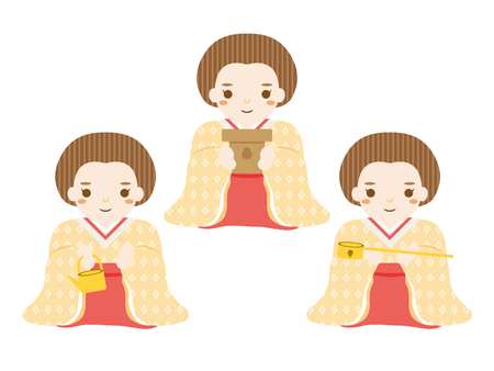 Display dolls for the Japanese doll festival. Three court ladies