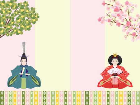 Japanese doll festival vector background.