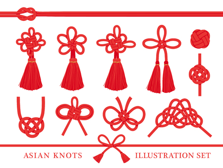 Japanese knot vector illustration set.