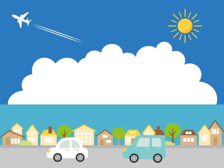 Landscape + driving + the + summer + suburbs + vector + illustration. Çizim