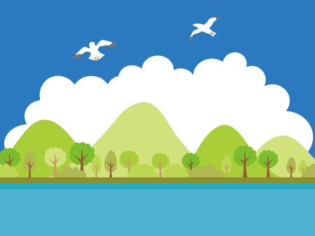Summer + land + scape + vector + illustration. 向量圖像