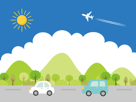 Landscape + driving + the + summer + suburbs + vector + illustration.  イラスト・ベクター素材
