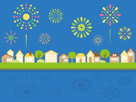 Summer + firework + landscape + vector + illustration.  イラスト・ベクター素材