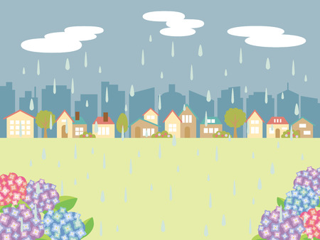 Rainy weather land scape vector illustration. Illusztráció