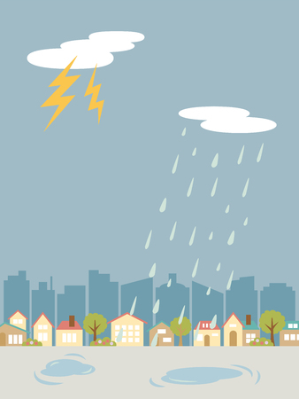 Thunder weather land scape vector illustration. Stock Illustratie