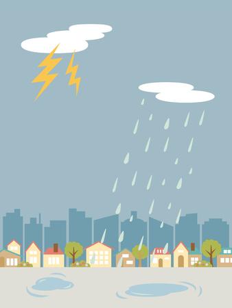 Thunder weer landschap vectorillustratie. Vector Illustratie