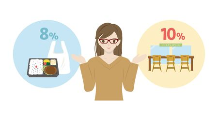 Japanese woman showing reduced tax rate. Comparison between shopping at a convenience store and eating at a store. Illustration
